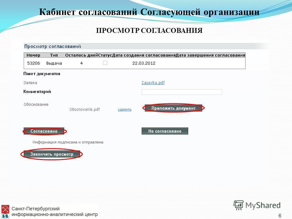 Кабинет согласований Согласующей организации ПРОСМОТР СОГЛАСОВАНИЯ 6