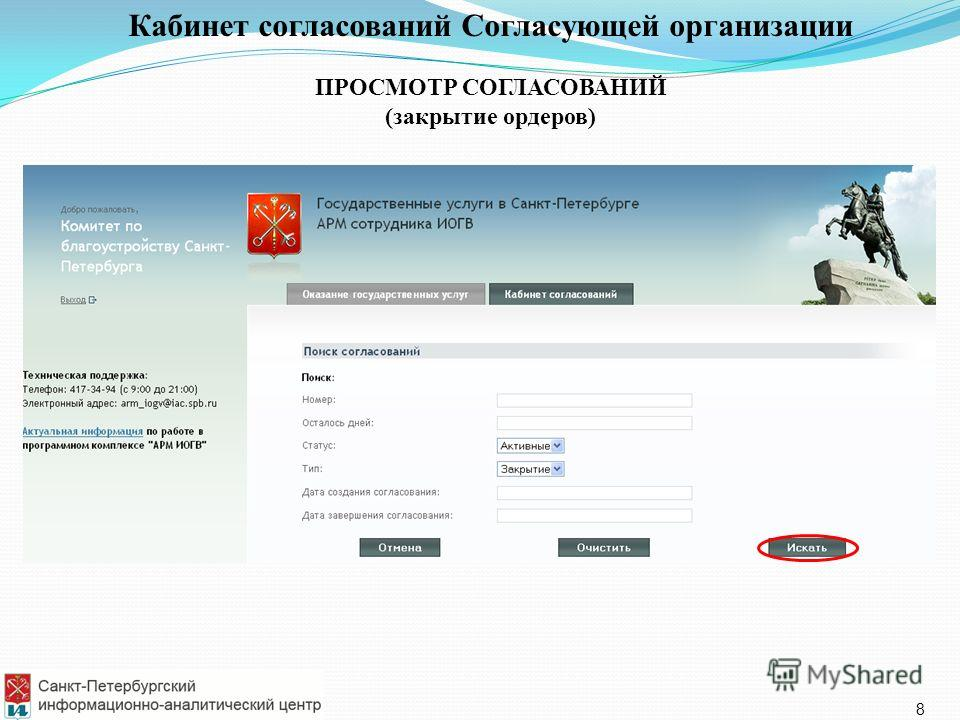 Кабинет согласований Согласующей организации ПРОСМОТР СОГЛАСОВАНИЙ (закрытие ордеров) 8