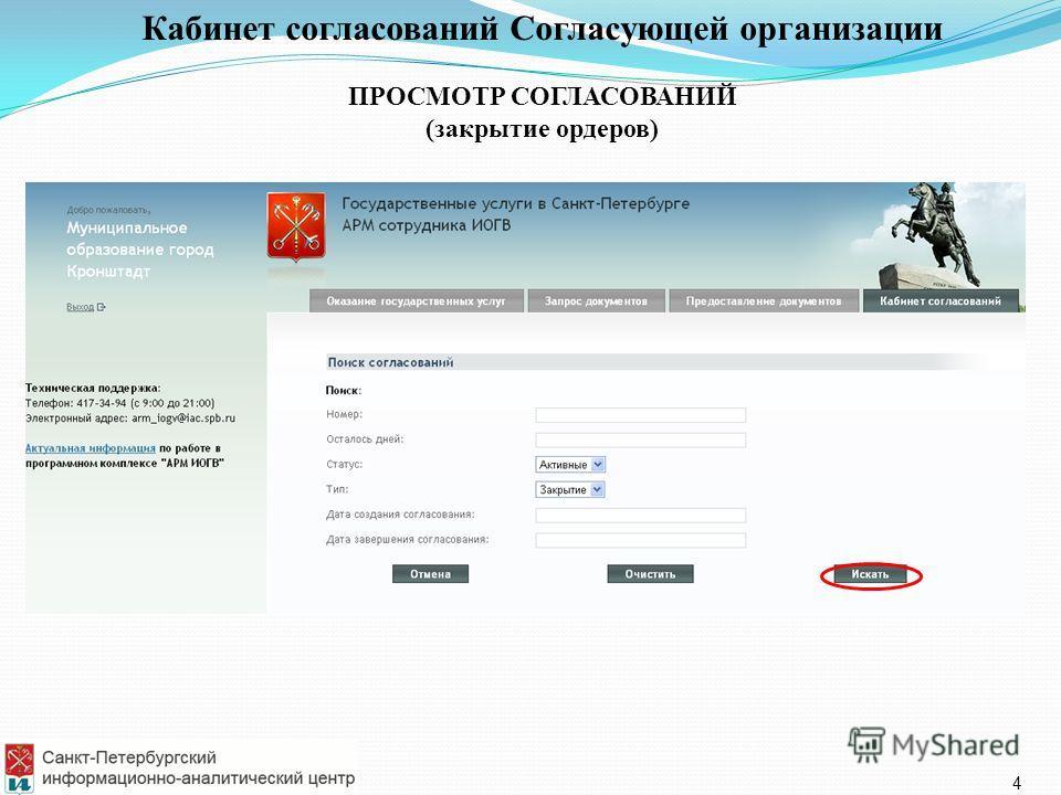 Кабинет согласований Согласующей организации ПРОСМОТР СОГЛАСОВАНИЙ (закрытие ордеров) 4