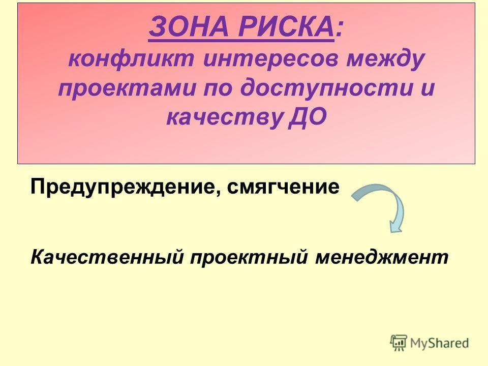 ЗОНА РИСКА: конфликт интересов между проектами по доступности и качеству ДО Предупреждение, смягчение Качественный проектный менеджмент