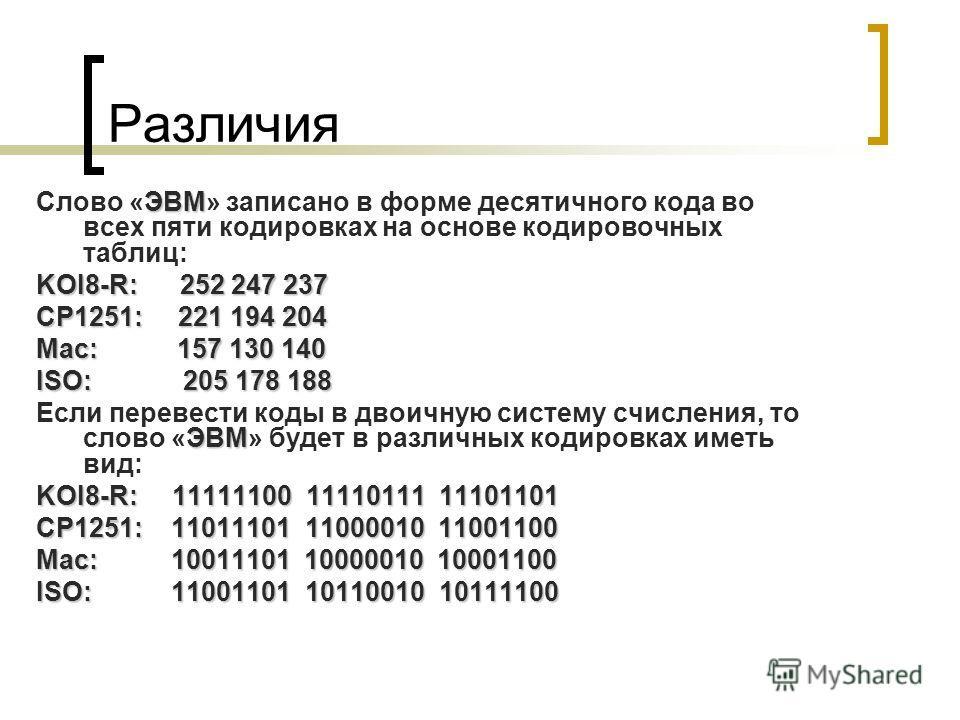 Различия ЭВМ Слово «ЭВМ» записано в форме десятичного кода во всех пяти кодировках на основе кодировочных таблиц: KOI8-R: 252 247 237 CP1251: 221 194 204 Mac: 157 130 140 ISO: 205 178 188 ЭВМ Если перевести коды в двоичную систему счисления, то слово