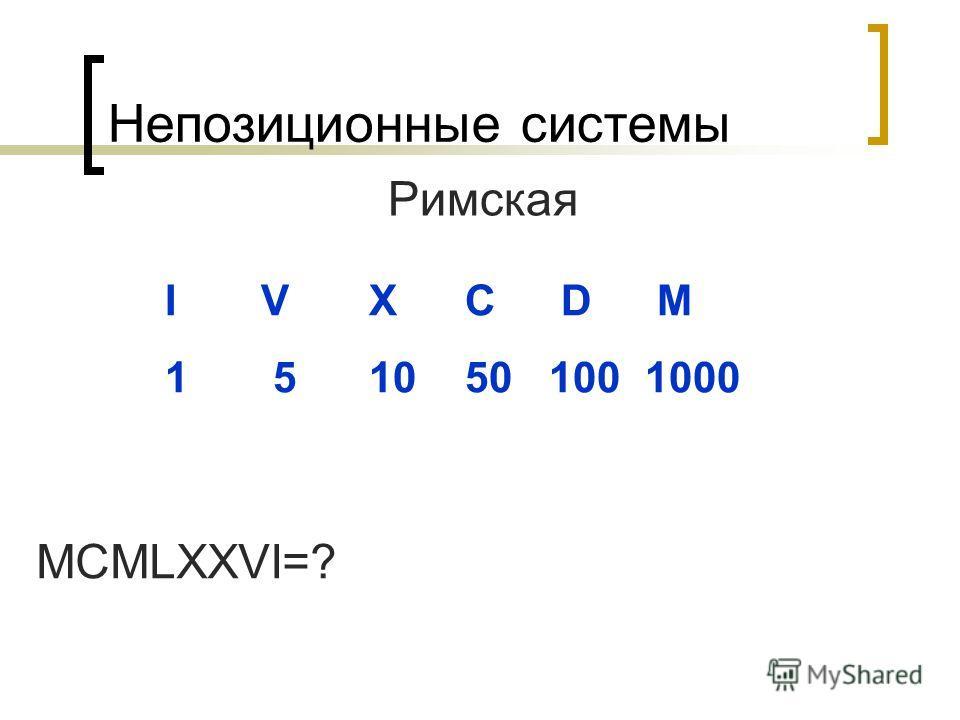 Непозиционные системы Римская I V X C D M 1 5 10 501001000 MCMLXXVI=?
