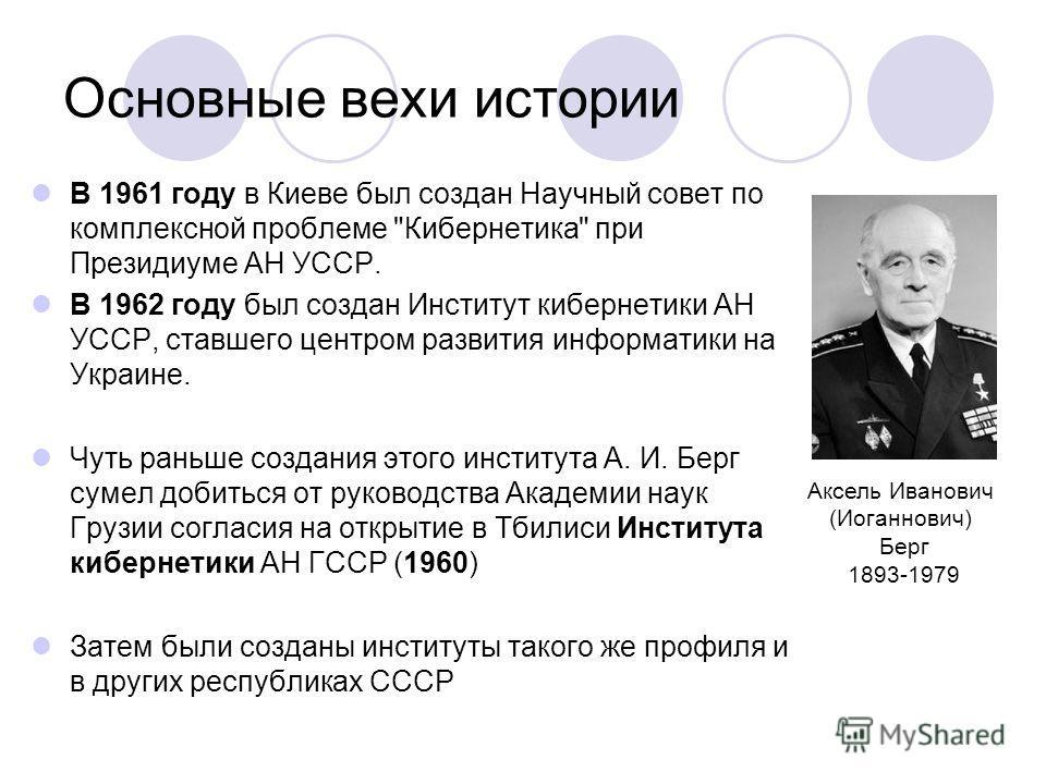 Основные вехи истории В 1961 году в Киеве был создан Научный совет по комплексной проблеме