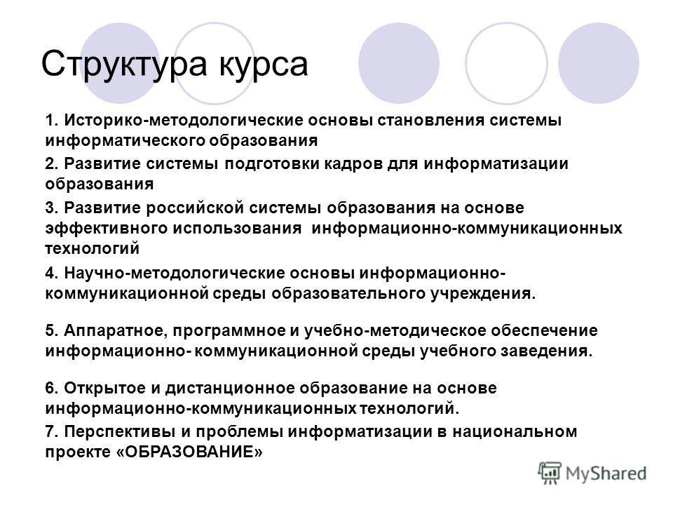 Структура курса 1. Историко-методологические основы становления системы информатического образования 2. Развитие системы подготовки кадров для информатизации образования 3. Развитие российской системы образования на основе эффективного использования