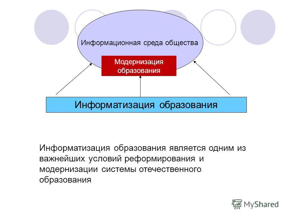 Информатизация образования Информационная среда общества Информатизация образования является одним из важнейших условий реформирования и модернизации системы отечественного образования Модернизация образования