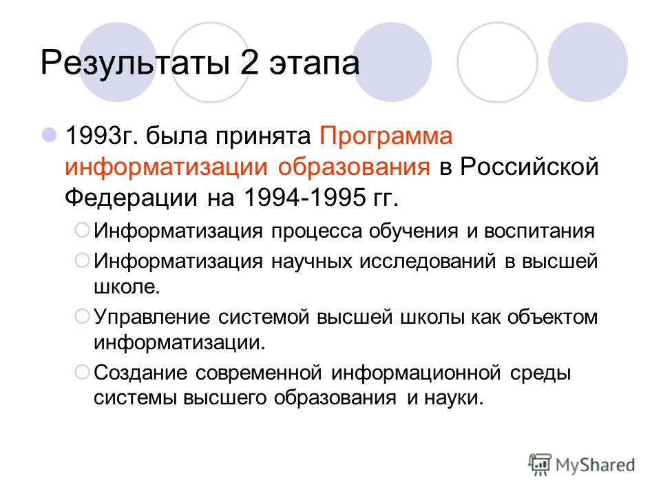 Результаты 2 этапа 1993г. была принята Программа информатизации образования в Российской Федерации на 1994-1995 гг. Информатизация процесса обучения и воспитания Информатизация научных исследований в высшей школе. Управление системой высшей школы как