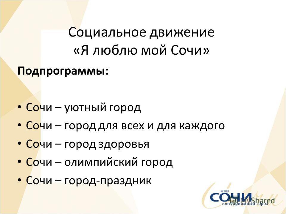 Социальное движение «Я люблю мой Сочи» Подпрограммы: Сочи – уютный город Сочи – город для всех и для каждого Сочи – город здоровья Сочи – олимпийский город Сочи – город-праздник