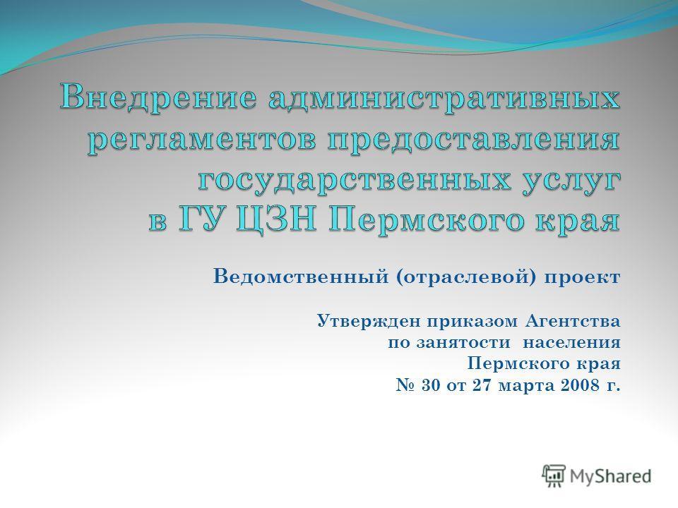 Ведомственный (отраслевой) проект Утвержден приказом Агентства по занятости населения Пермского края 30 от 27 марта 2008 г.