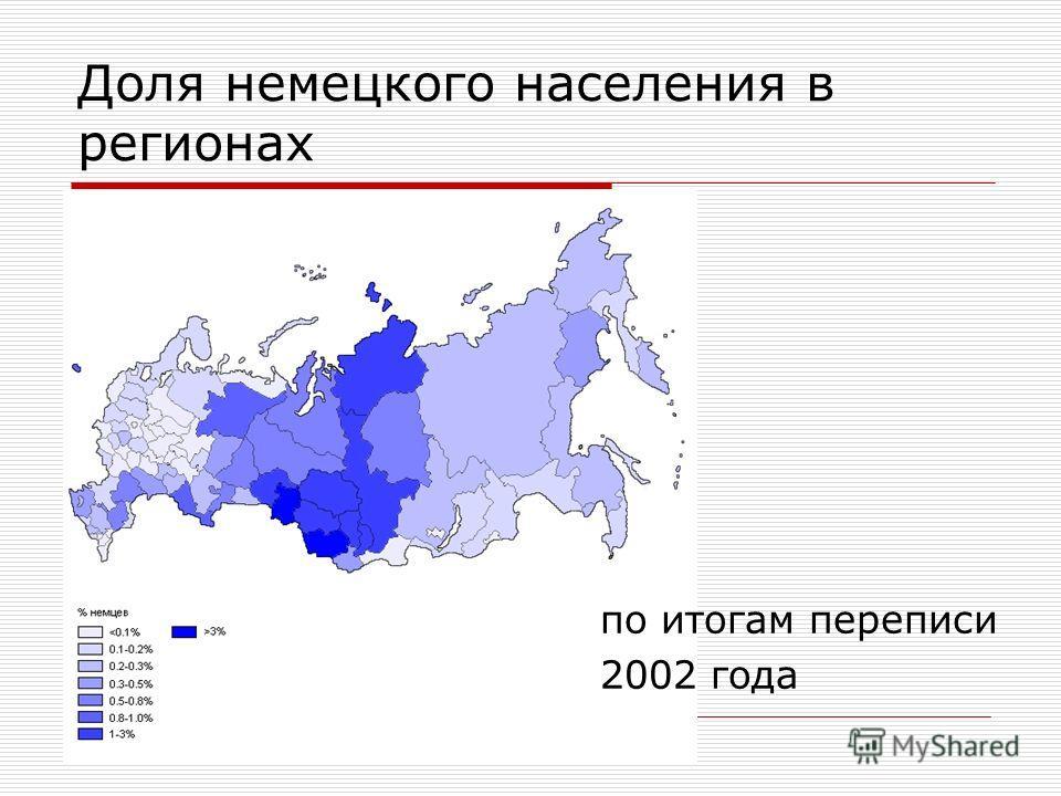Доля немецкого населения в регионах по итогам переписи 2002 года
