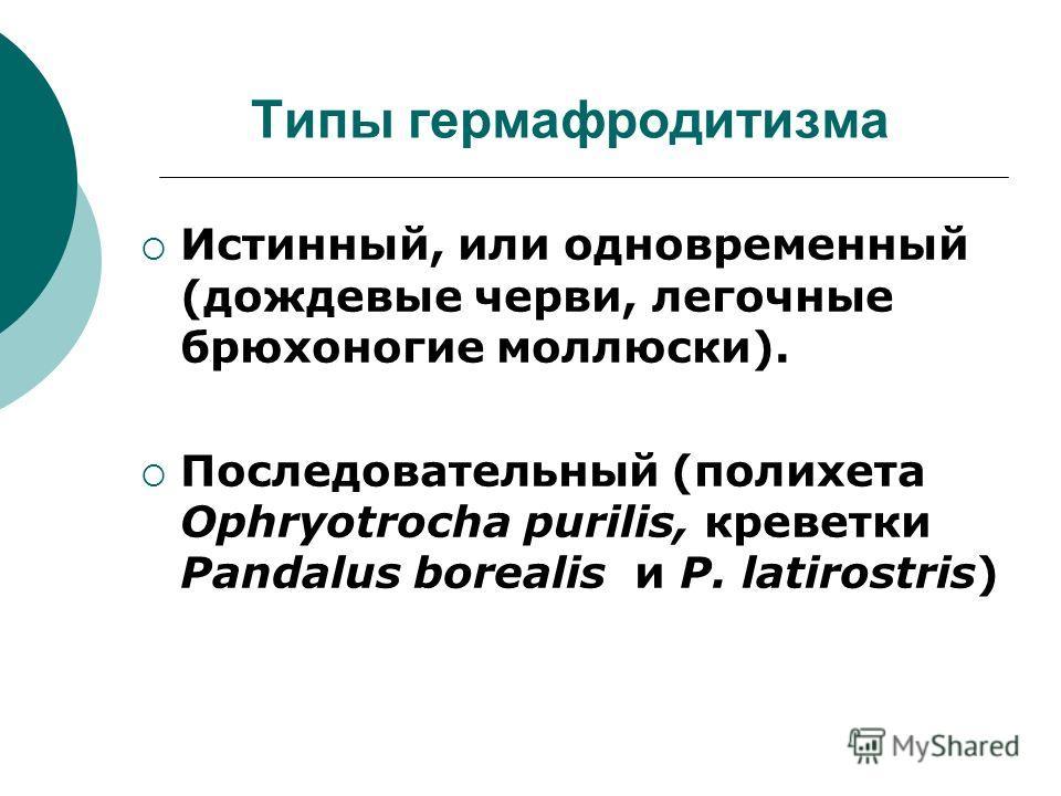 Типы гермафродитизма Истинный, или одновременный (дождевые черви, легочные брюхоногие моллюски). Последовательный (полихета Ophryotrocha purilis, креветки Pandalus borealis и P. latirostris)