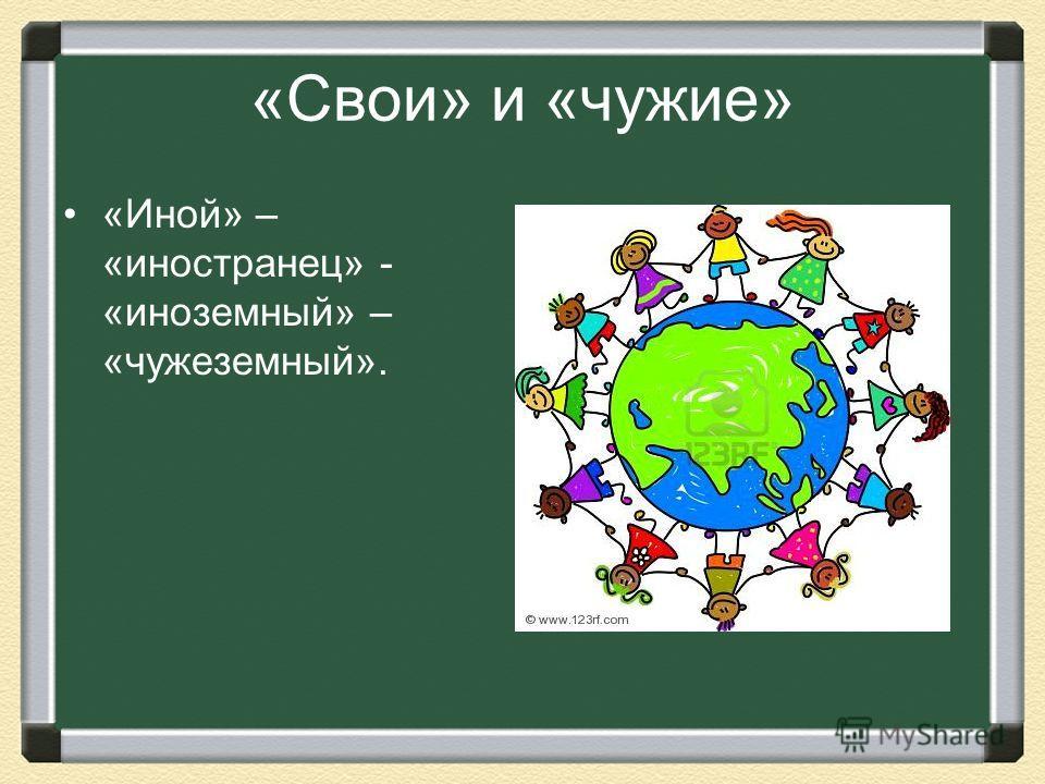 «Свои» и «чужие» «Иной» – «иностранец» - «иноземный» – «чужеземный».