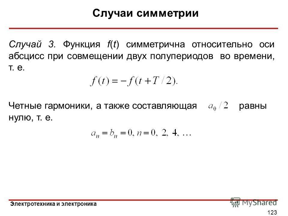 Электротехника и электроника Случаи симметрии 123 Случай 3. Функция f(t) симметрична относительно оси абсцисс при совмещении двух полупериодов во времени, т. е. Четные гармоники, а также составляющаяравны нулю, т. е.