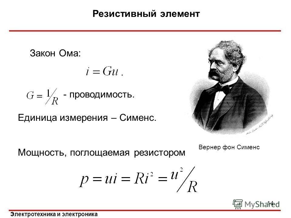 Электротехника и электроника Закон Ома: - проводимость. Единица измерения – Сименс. Мощность, поглощаемая резистором Резистивный элемент 14 Вернер фон Сименс