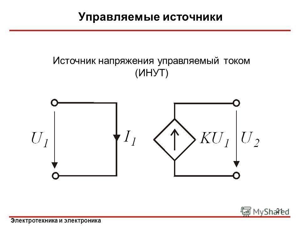 Электротехника и электроника Управляемые источники 21 Источник напряжения управляемый током (ИНУТ)