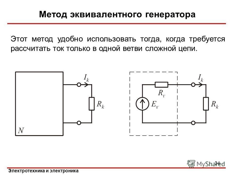 Электротехника и электроника Метод эквивалентного генератора Этот метод удобно использовать тогда, когда требуется рассчитать ток только в одной ветви сложной цепи. 34