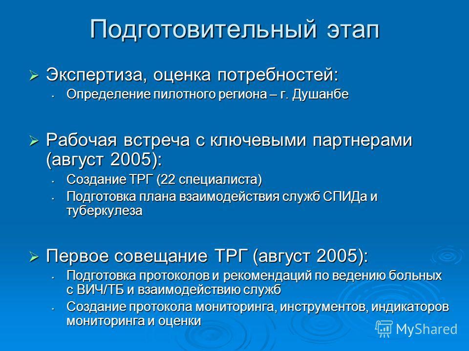 Подготовительный этап Экспертиза, оценка потребностей: Экспертиза, оценка потребностей: Определение пилотного региона – г. Душанбе Определение пилотного региона – г. Душанбе Рабочая встреча с ключевыми партнерами (август 2005): Рабочая встреча с ключ