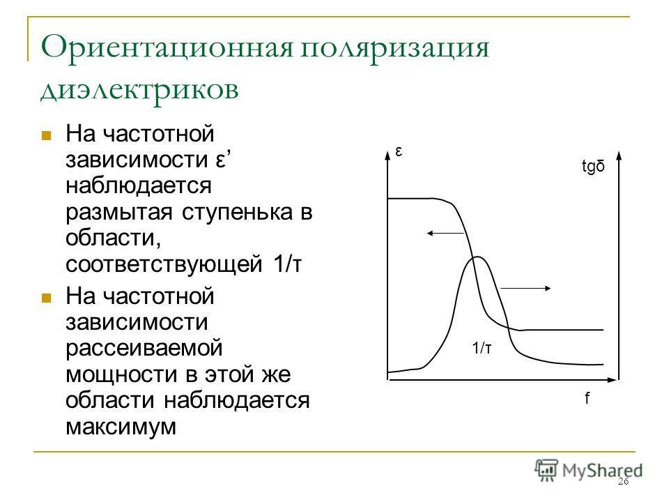 26 Ориентационная поляризация диэлектриков На частотной зависимости ε наблюдается размытая ступенька в области, соответствующей 1/τ На частотной зависимости рассеиваемой мощности в этой же области наблюдается максимум ε tgδ 1/τ f