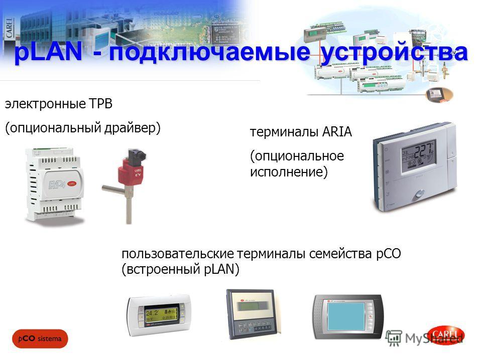 pLAN - подключаемые устройства пользовательские терминалы семейства pCO (встроенный pLAN) электронные ТРВ (опциональный драйвер) терминалы ARIA (опциональное исполнение)