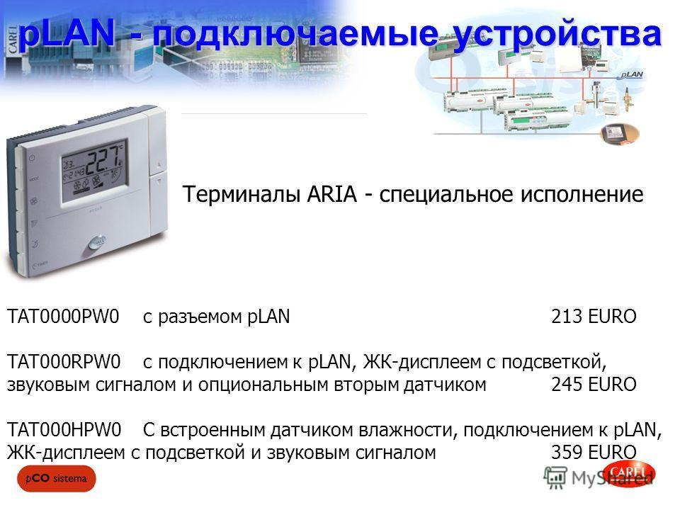 pLAN - подключаемые устройства TAT0000PW0с разъемом pLAN 213 EURO TAT000RPW0c подключением к pLAN, ЖК-дисплеем с подсветкой, звуковым сигналом и опциональным вторым датчиком245 EURO TAT000HPW0C встроенным датчиком влажности, подключением к pLAN, ЖК-д