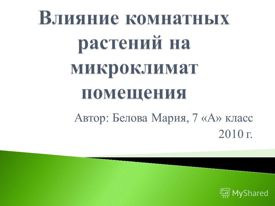 Автор: Белова Мария, 7 «А» класс 2010 г.