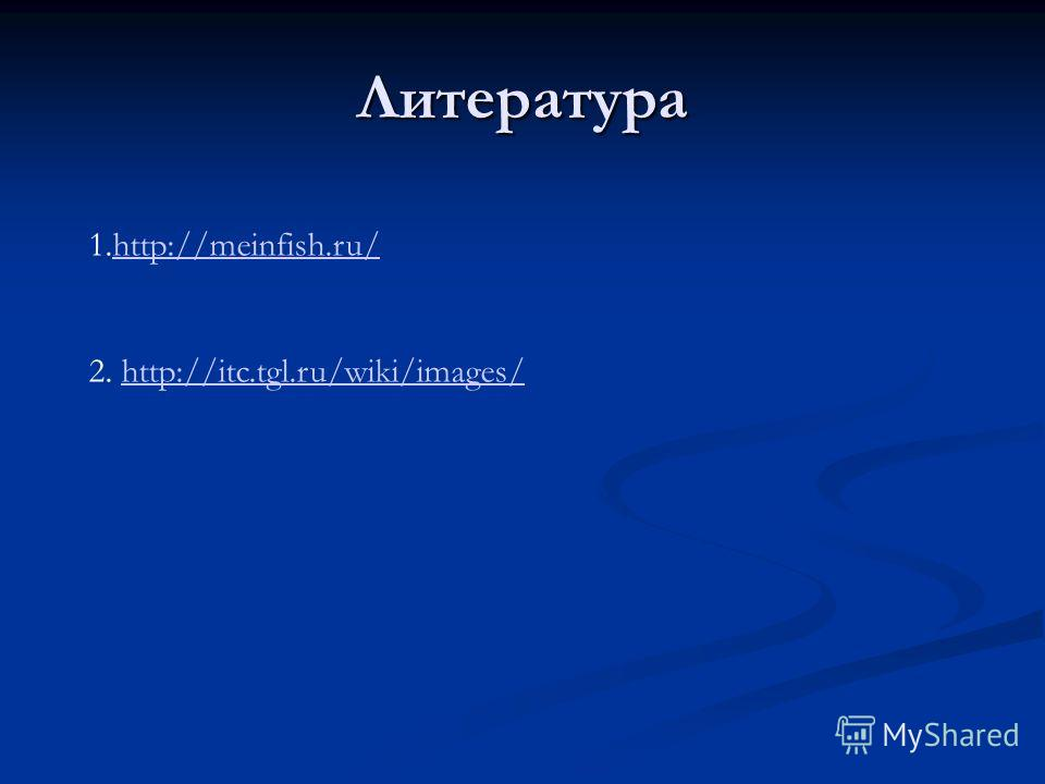 Литература 1.http://meinfish.ru/http://meinfish.ru/ 2. http://itc.tgl.ru/wiki/images/http://itc.tgl.ru/wiki/images/
