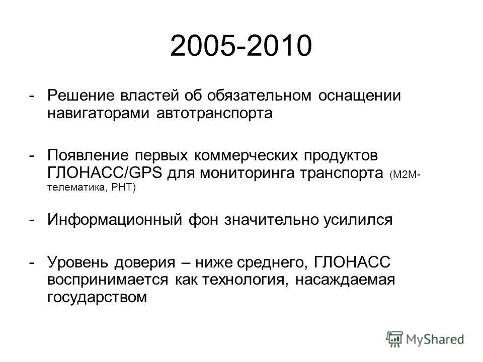 2005-2010 -Решение властей об обязательном оснащении навигаторами автотранспорта -Появление первых коммерческих продуктов ГЛОНАСС/GPS для мониторинга транспорта (М2М- телематика, РНТ) -Информационный фон значительно усилился -Уровень доверия – ниже с