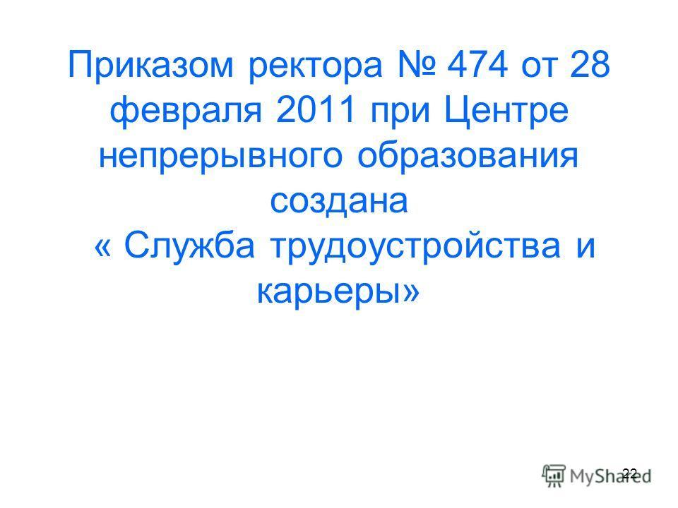 22 Приказом ректора 474 от 28 февраля 2011 при Центре непрерывного образования создана « Служба трудоустройства и карьеры»