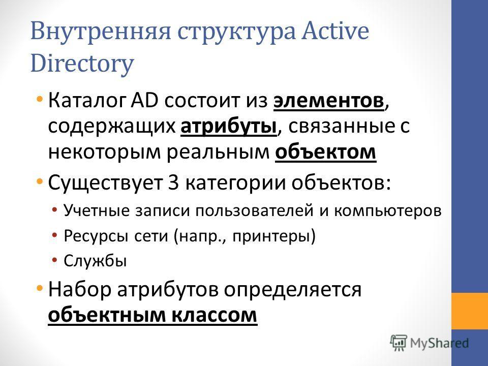 Внутренняя структура Active Directory Каталог AD состоит из элементов, содержащих атрибуты, связанные с некоторым реальным объектом Существует 3 категории объектов: Учетные записи пользователей и компьютеров Ресурсы сети (напр., принтеры) Службы Набо
