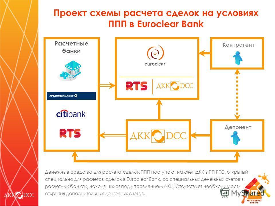 Развиваемся вместе 9 Контрагент Депонент euroclear Расчетные банки Денежные средства для расчета сделок ППП поступают на счет ДКК в РП РТС, открытый специально для расчетов сделок в Euroclear Bank, со специальных денежных счетов в расчетных банках, н