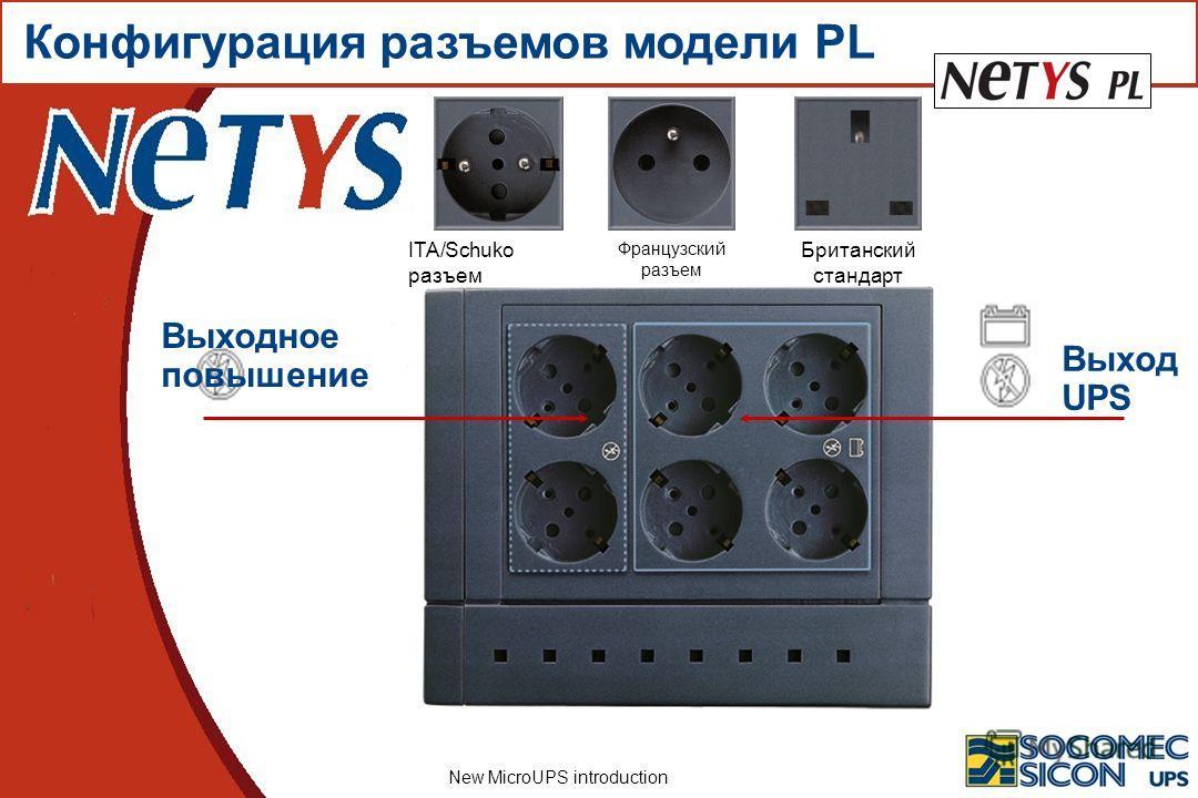 New MicroUPS introduction Выход UPS Выходное повышение Конфигурация разъемов модели PL ITA/Schuko разъем Французский разъем Британский стандарт