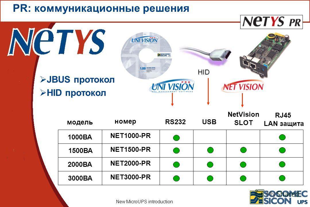 New MicroUPS introduction 1000ВА 1500ВА 2000ВА номер модель 3000ВА NET1000-PRNET1500-PRNET2000-PRNET3000-PR RJ45 LAN защита JBUS протокол HID протокол PR: коммуникационные решения RS232 NetVision SLOT USB HID