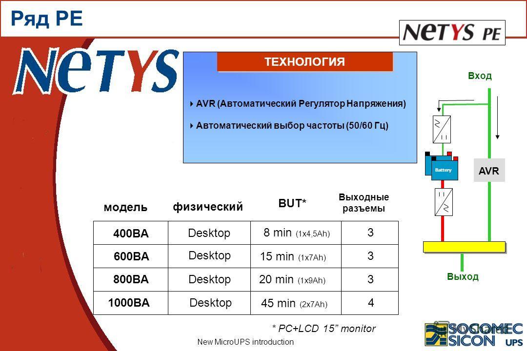 New MicroUPS introduction 400ВA 600ВA 800ВA модель 1000ВA BUT* Выходные разъемы физический Desktop 3 3 3 4 Battery Вход Выход AVR * PC+LCD 15 monitor 8 min (1x4,5Ah) 15 min (1x7Ah) 20 min (1x9Ah) 45 min (2x7Ah) AVR (Автоматический Регулятор Напряжени