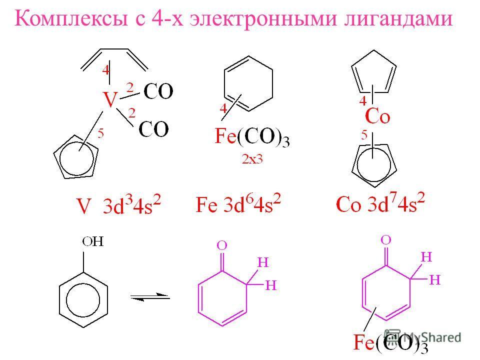 Комплексы с 4-х электронными лигандами