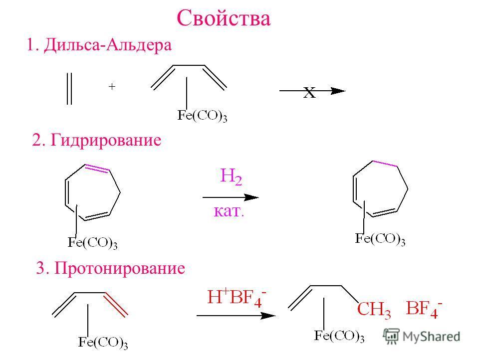 Свойства 1. Дильса-Альдера 2. Гидрирование 3. Протонирование
