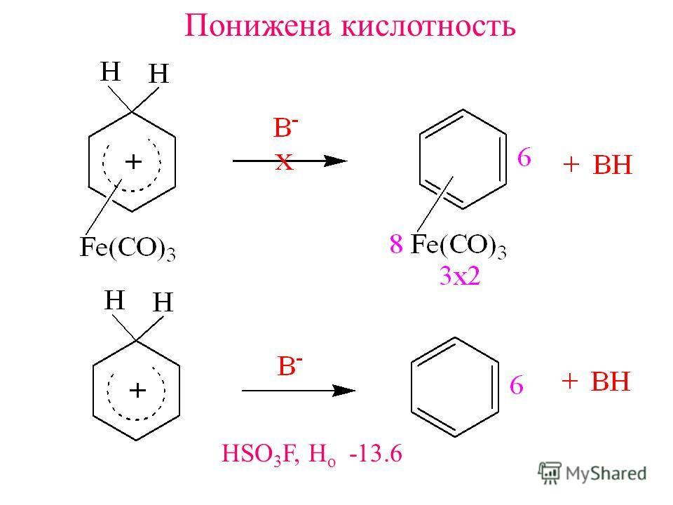 Понижена кислотность HSO 3 F, H o -13.6