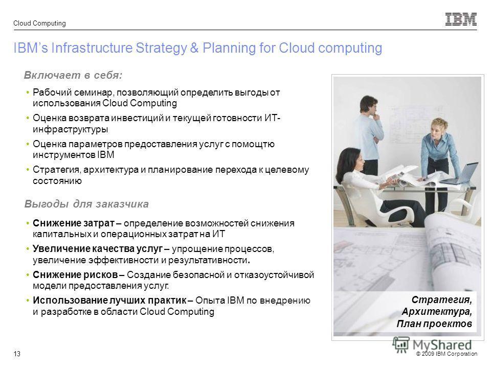 © 2009 IBM Corporation Cloud Computing 13 IBMs Infrastructure Strategy & Planning for Cloud computing Включает в себя: Рабочий семинар, позволяющий определить выгоды от использования Cloud Computing Оценка возврата инвестиций и текущей готовности ИТ-