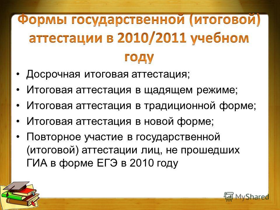 Досрочная итоговая аттестация; Итоговая аттестация в щадящем режиме; Итоговая аттестация в традиционной форме; Итоговая аттестация в новой форме; Повторное участие в государственной (итоговой) аттестации лиц, не прошедших ГИА в форме ЕГЭ в 2010 году