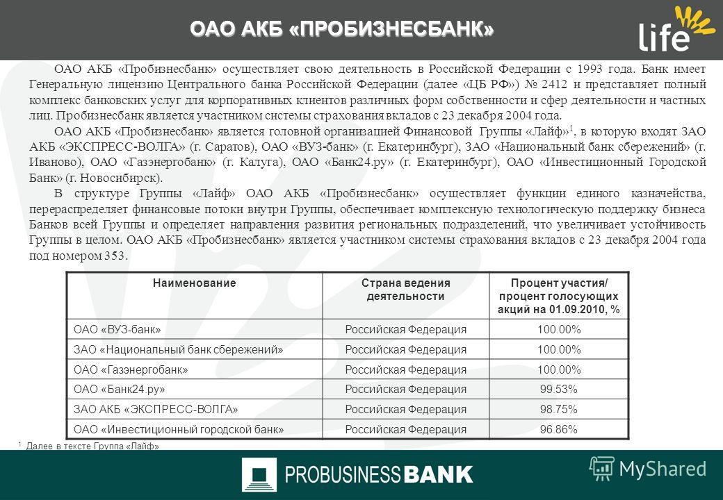 Финансовая Группа «Лайф» ОАО АКБ «ПРОБИЗНЕСБАНК» 01 сентября 2010 года