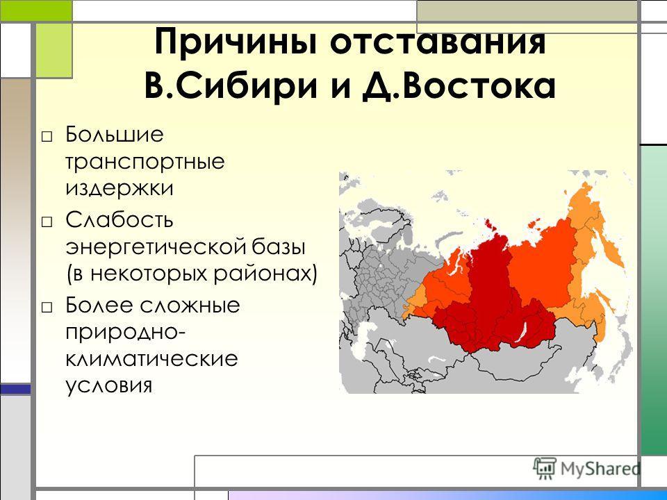 Причины отставания В.Сибири и Д.Востока Большие транспортные издержки Слабость энергетической базы (в некоторых районах) Более сложные природно- климатические условия