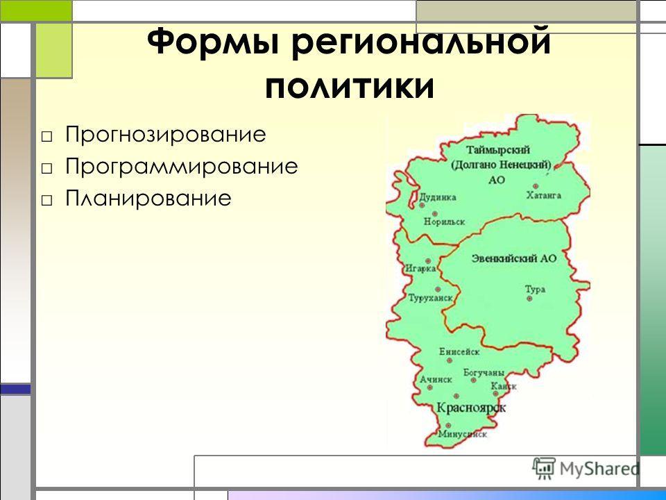 Формы региональной политики Прогнозирование Программирование Планирование