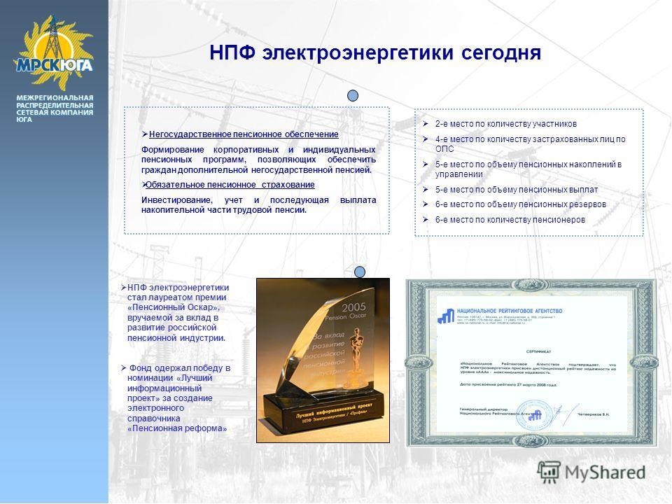 НПФ электроэнергетики сегодня НПФ электроэнергетики стал лауреатом премии «Пенсионный Оскар», вручаемой за вклад в развитие российской пенсионной индустрии. Фонд одержал победу в номинации «Лучший информационный проект» за создание электронного справ