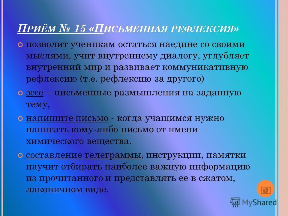 П РИЁМ 15 «П ИСЬМЕННАЯ РЕФЛЕКСИЯ » позволит ученикам остаться наедине со своими мыслями, учит внутреннему диалогу, углубляет внутренний мир и развивает коммуникативную рефлексию (т.е. рефлексию за другого) эссе – письменные размышления на заданную те