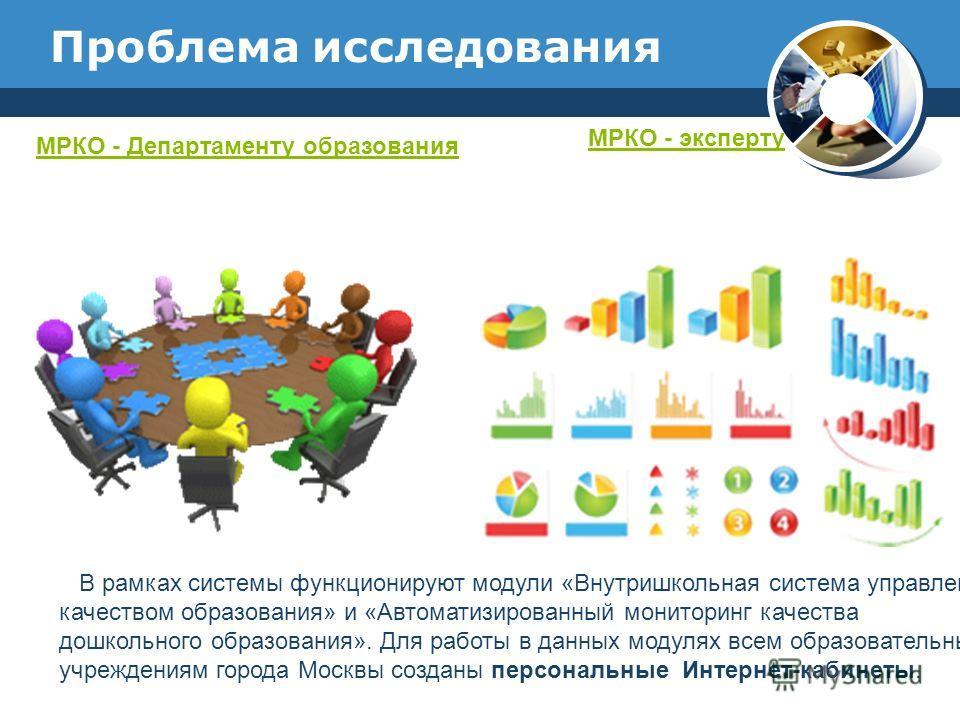 Проблема исследования МРКО - Департаменту образования МРКО - эксперту В рамках системы функционируют модули «Внутришкольная система управления качеством образования» и «Автоматизированный мониторинг качества дошкольного образования». Для работы в дан