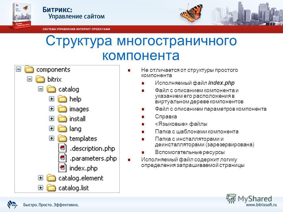 Структура многостраничного компонента Не отличается от структуры простого компонента Исполняемый файл index.php Файл с описанием компонента и указанием его расположения в виртуальном дереве компонентов Файл с описанием параметров компонента Справка «