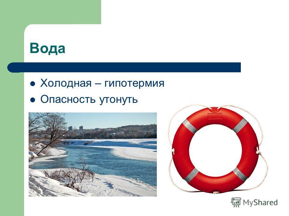 Вода Холодная – гипотермия Опасность утонуть