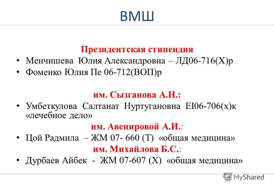 Список студентов, рекомендованных на присвоение именных стипендий КазНМУ и стипендий Президента Республики Казахстан.
