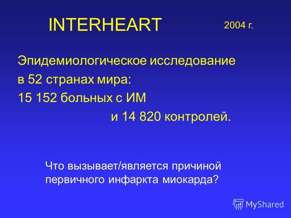 INTERHEART Эпидемиологическое исследование в 52 странах мира: 15 152 больных с ИМ и 14 820 контролей. 2004 г. Что вызывает/является причиной первичного инфаркта миокарда?