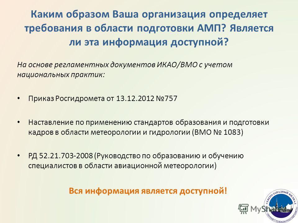 Каким образом Ваша организация определяет требования в области подготовки АМП? Является ли эта информация доступной? На основе регламентных документов ИКАО/ВМО с учетом национальных практик: Приказ Росгидромета от 13.12.2012 757 Наставление по примен