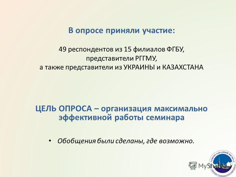 В опросе приняли участие: 49 респондентов из 15 филиалов ФГБУ, представители РГГМУ, а также представители из УКРАИНЫ и КАЗАХСТАНА ЦЕЛЬ ОПРОСА – организация максимально эффективной работы семинара Обобщения были сделаны, где возможно.