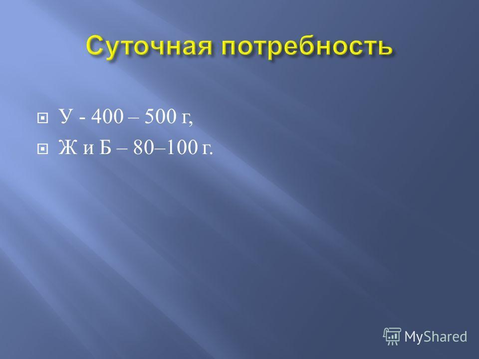 У - 400 – 500 г, Ж и Б – 80–100 г.